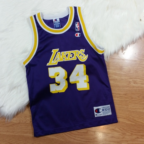 sports shoes 21e29 57521 Authentic Youth Shaq O'Neal Lakers Jersey--388